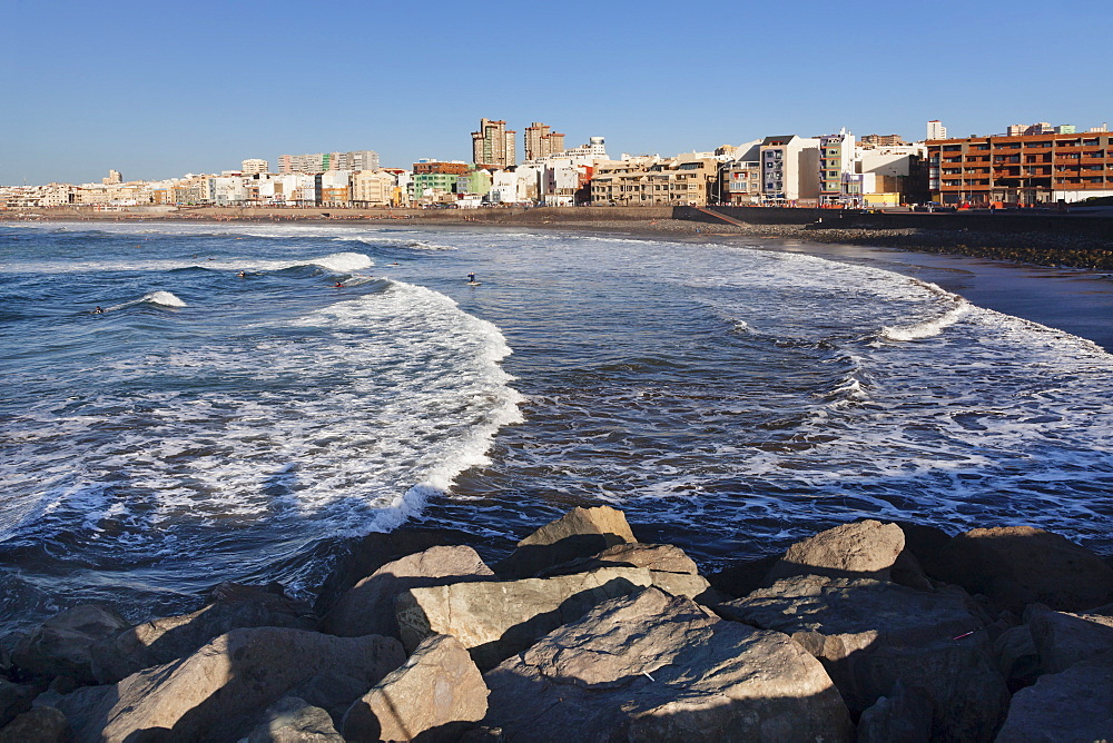 City skyline at the seaside in the evening, Playa de las Canteras, Las Palmas, Gran Canaria, Canary Islands, Spain, Atlantic, Europe