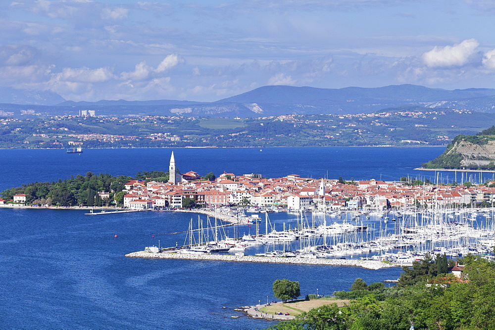 High angle view of the old town and the harbour of Izola, Primorska, Istria, Slovenia, Europe