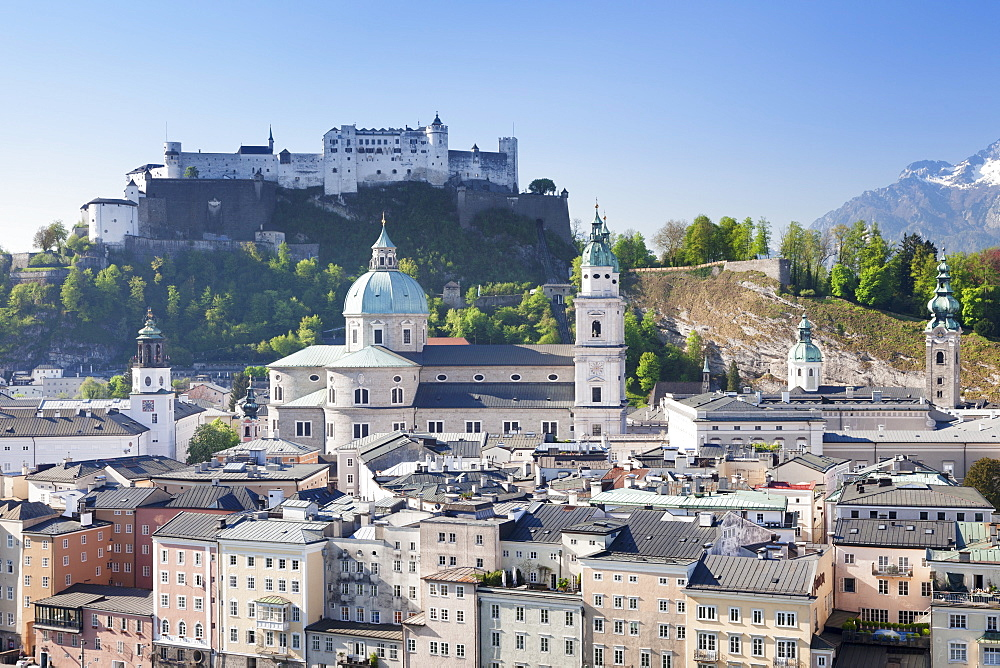 High angle view of the old town with Hohensalzburg Fortress, Dom Cathedral and Kappuzinerkirche Church, UNESCO World Heritage Site, Salzburg, Salzburger Land, Austria, Europe