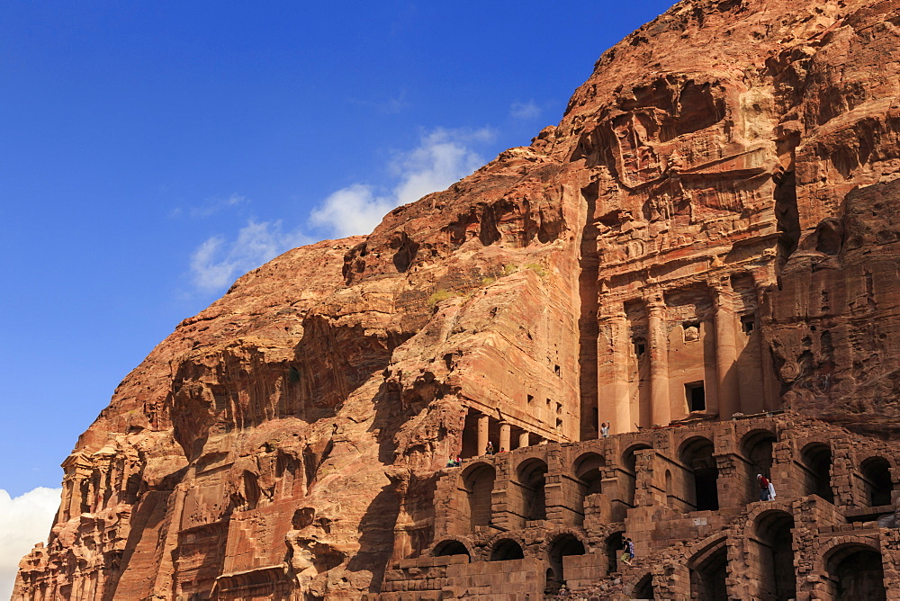 Tourist around the Urn Tomb, Royal Tombs, Petra, UNESCO World Heritage Site, Jordan, Middle East