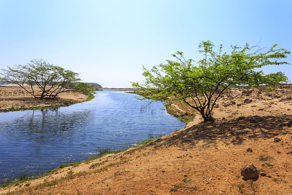 Tranquil waters of Khor Rori (Rouri), Land of Frankincense UNESCO World Heritage Site, near Salalah, Dhofar Region, Oman, Middle East