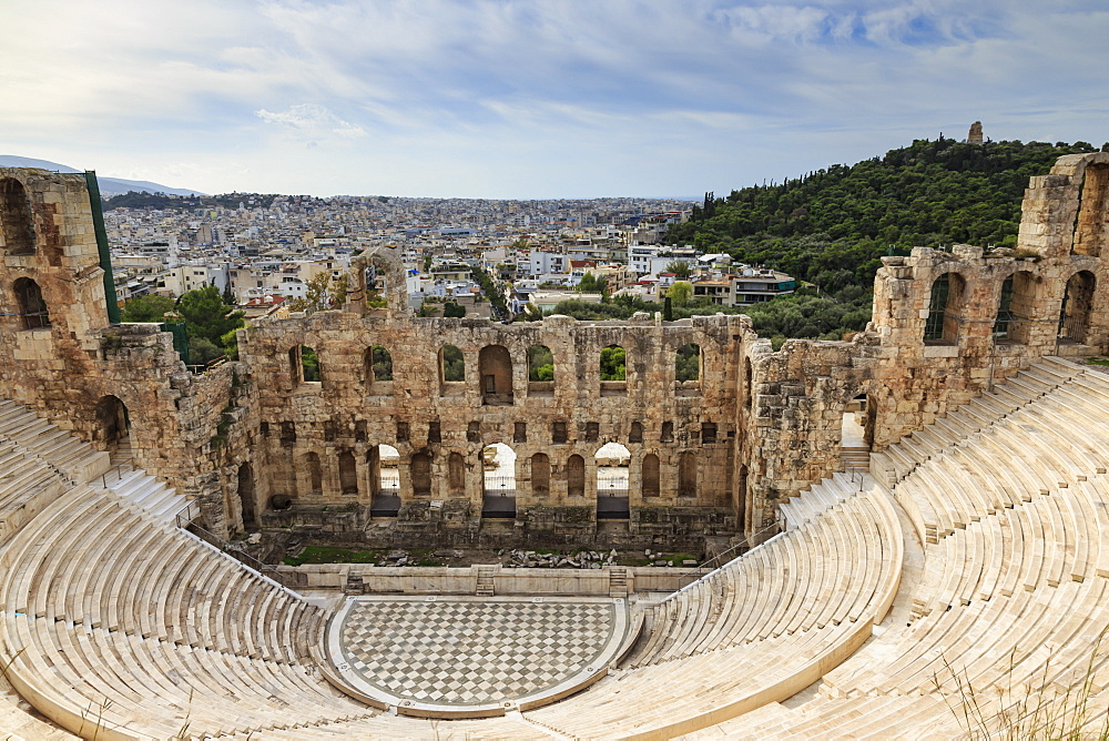 Theatre of Herod Atticus below the Acropolis with the Hill of Philippapos and city view, Athens, Greece, Europe