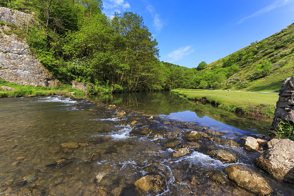 Weir, River Dove, Dovedale and Milldale in spring, White Peak, Peak District, Derbyshire Staffordshire border, England, United Kingdom, Europe