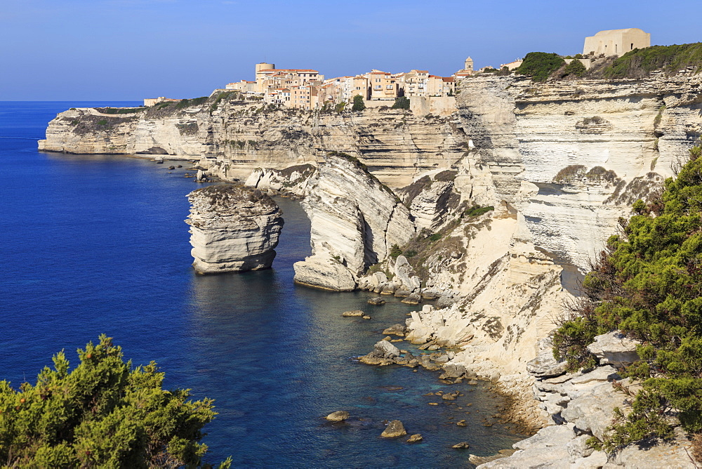 Old citadel and cliffs, interesting rock formations, Bonifacio, Corsica, France, Mediterranean, Europe