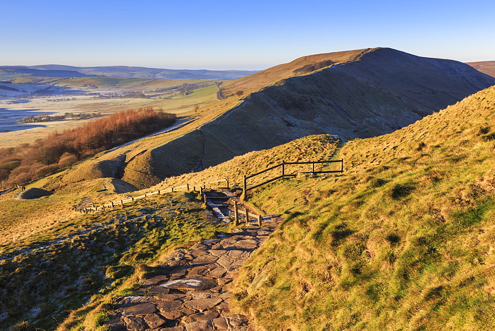 Frosty morning, Great Ridge, view to Rushup Edge from slopes of Mam Tor, near Edale, Peak District, Derbyshire, England, United Kingdom, Europe
