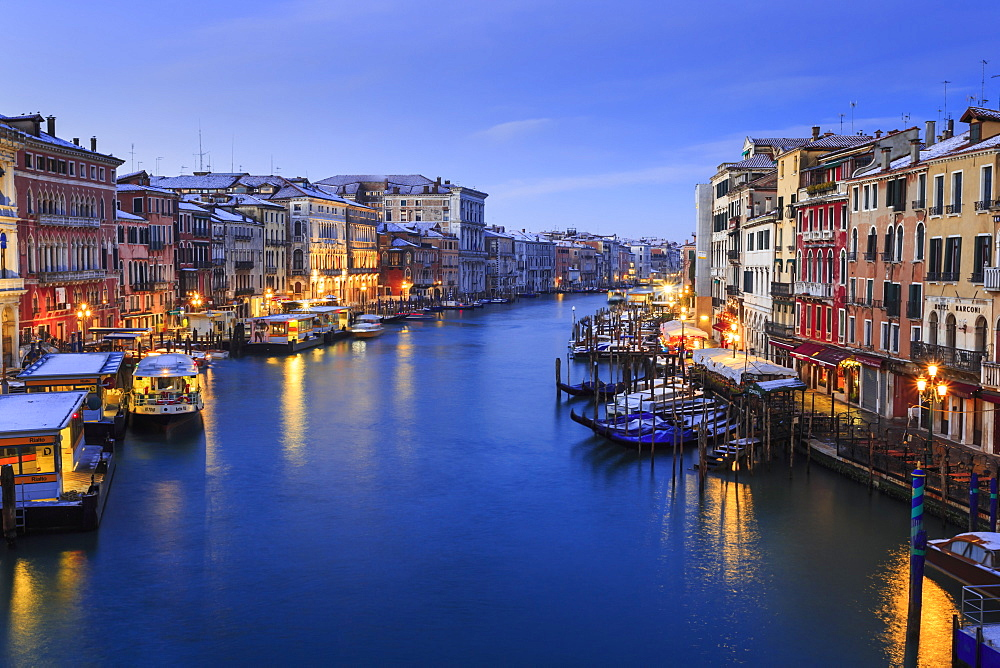 Grand Canal from Rialto Bridge after overnight snow, dawn blue hour, Venice, UNESCO World Heritage Site, Winter, Veneto, Italy