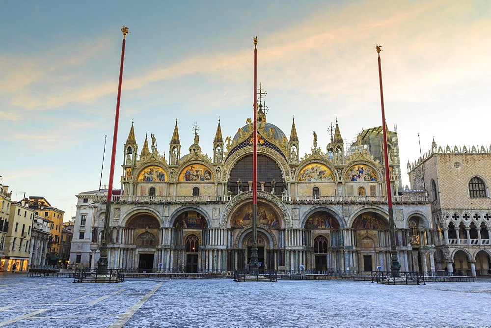 Basilica and Piazza San Marco at dawn after overnight snow, Venice, UNESCO World Heritage Site, Veneto, Italy, Europe