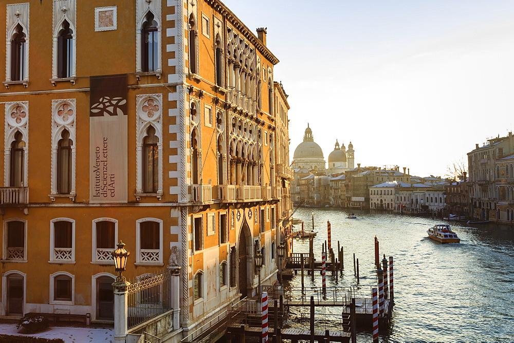 Santa Maria Della Salute, Grand Canal from Accademia Bridge, sunrise after snow, Venice, UNESCO Heritage Site, Winter, Italy
