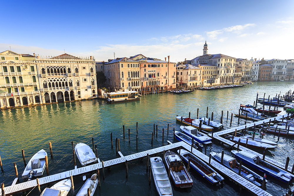 Ca D'Oro, famous Venetian Palace on Grand Canal, elevated view after snow, Venice, UNESCO World Heritage Site, Winter, Italy