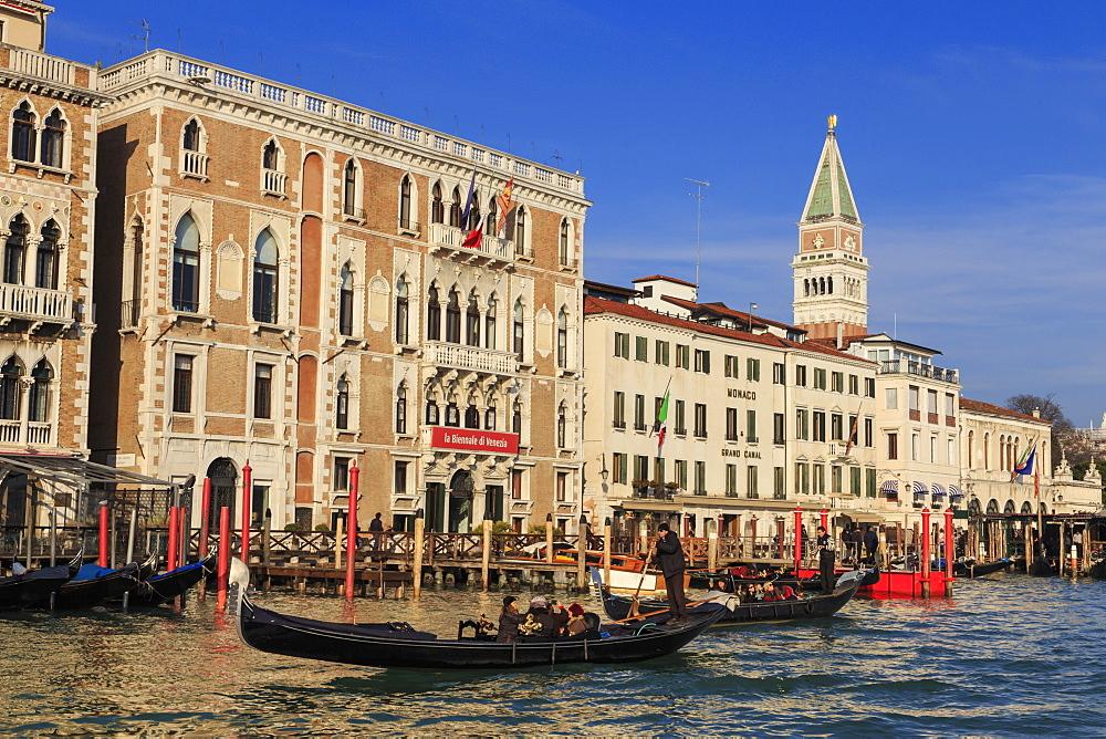Gondolas on the Grand Canal, Winter afternoon sun, Venice, UNESCO World Heritage Site, Veneto, Italy