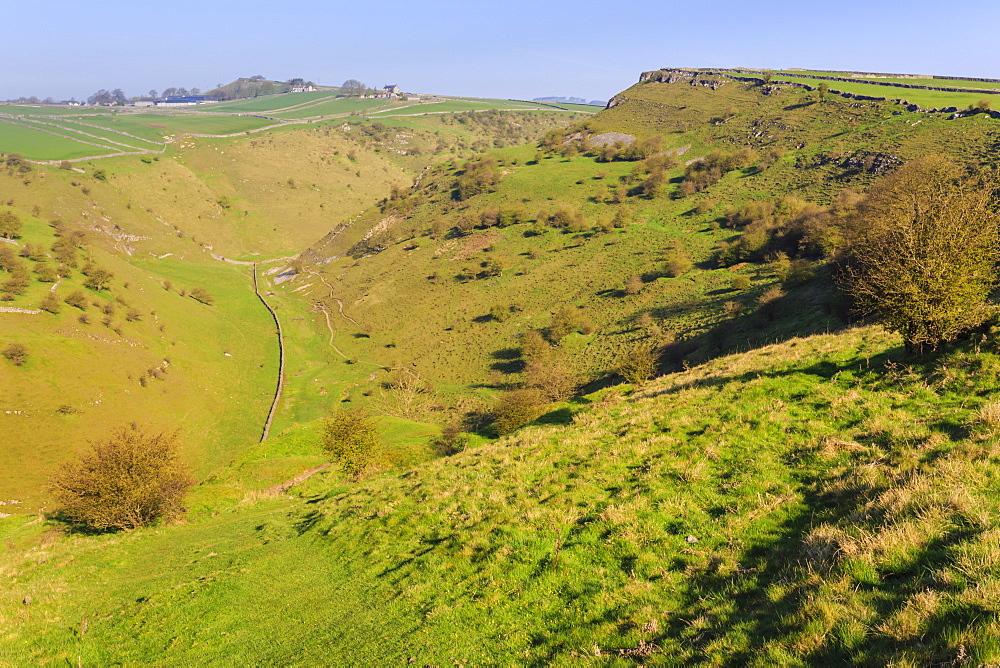 Cressbrook Dale Nature Reserve, rolling landscape, elevated view, Spring, Peak District National Park, Derbyshire, England