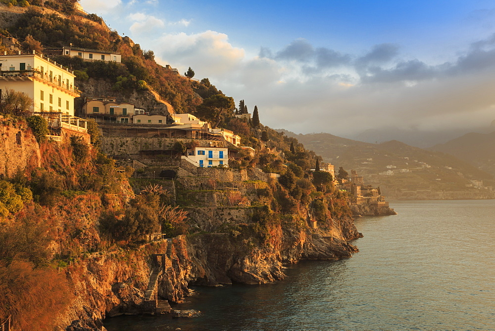 Stock photos of a misty dawn on the Amalfi Coast