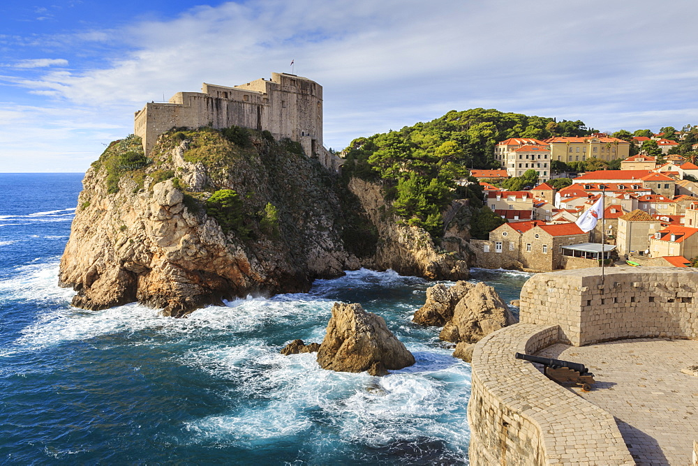 Lovrjenac Fort and Bokar Tower from Old Town City Walls, Dubrovnik, UNESCO World Heritage Site, Dalmatia, Croatia, Europe