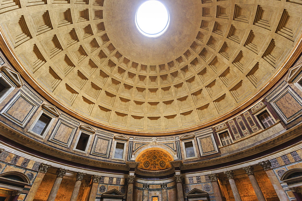 Pantheon interior concrete dome, Roman Temple, now church, Historic Centre, Rome, UNESCO World Heritage Site, Lazio, Italy