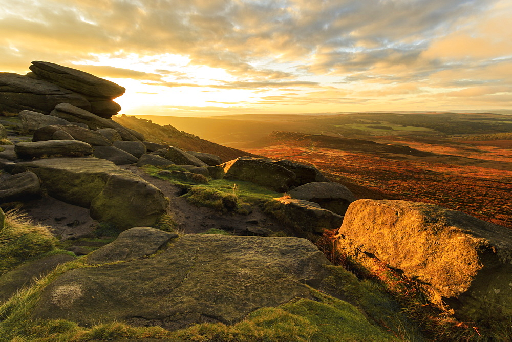 Carl Wark Hill Fort and Hathersage Moor from Higger Tor, sunrise, Peak District National Park, Autumn, Derbyshire, England