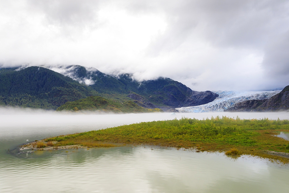 Mist, Mendenhall Glacier and Lake, bright blue ice, Tongass National Forest, Juneau, Alaska, United States of America, North America