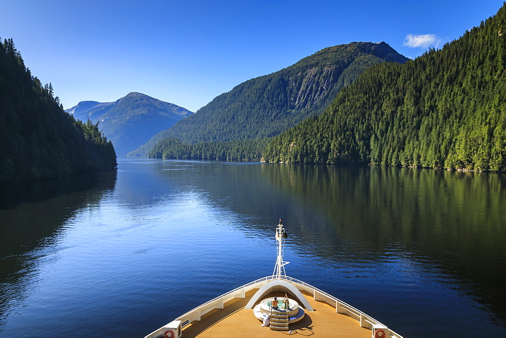 Cruise ship, Rudyerd Bay, beautiful day in summer, Misty Fjords National Monument, Tongass National Forest, Ketchikan, Alaska, United States of America, North America