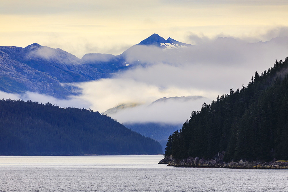 Mist over the Fairweather Range, Icy Strait, between Chichagof Island and Glacier Bay National Park, Inside Passage, Alaska, USA - 1167-1610