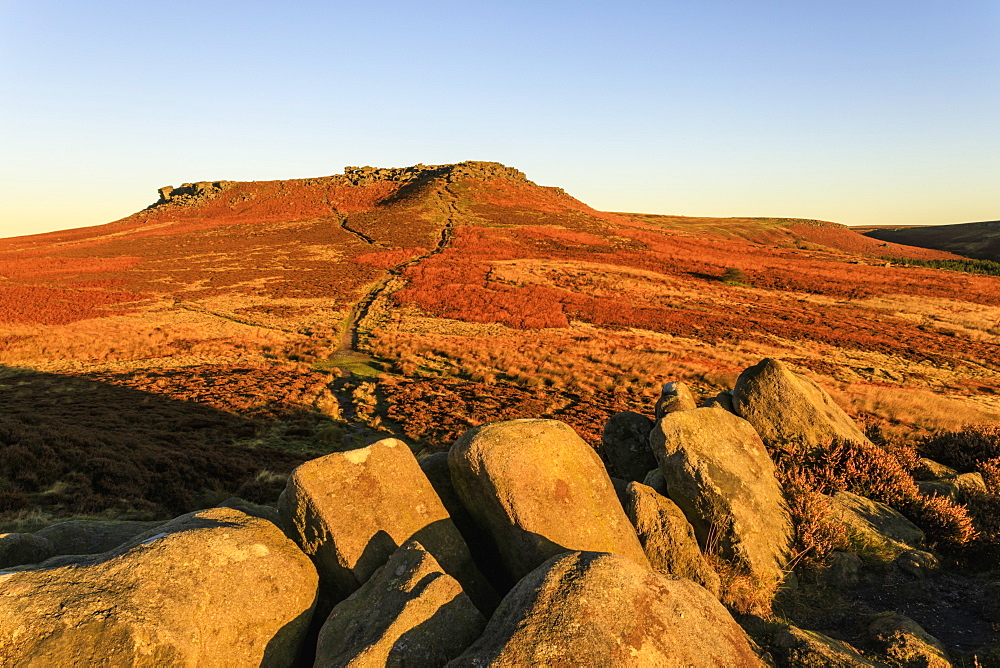 Higger Tor, sunrise, Hathersage Moor, from Carl Wark Hill Fort, Peak District National Park, Autumn, Derbyshire, England