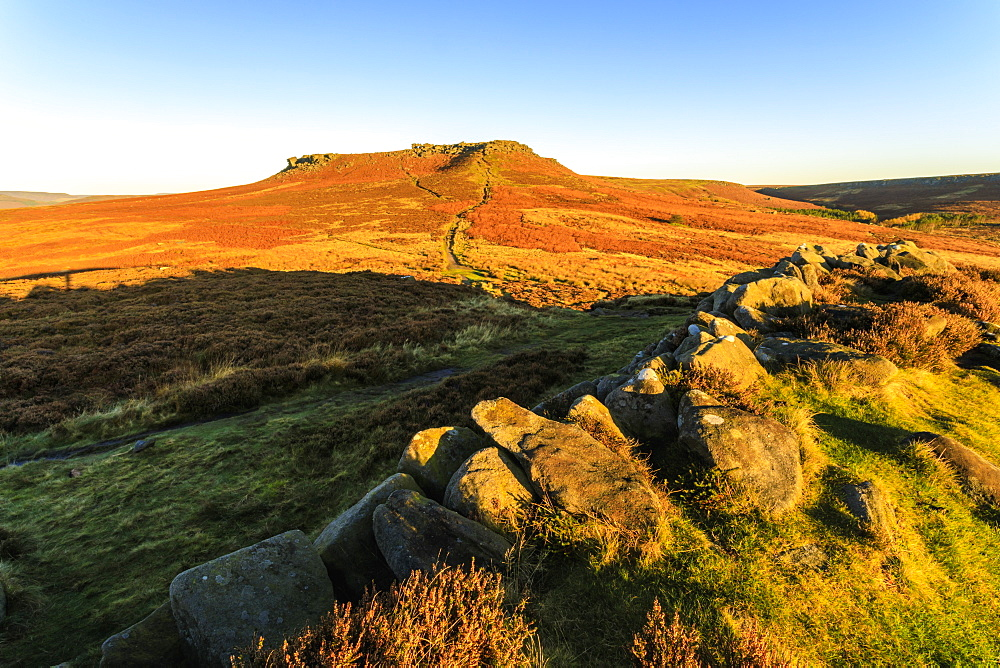 Higger Tor, sunrise in autumn, Hathersage Moor, from Carl Wark Hill Fort, Peak District National Park, Derbyshire, England, United Kingdom, Europe