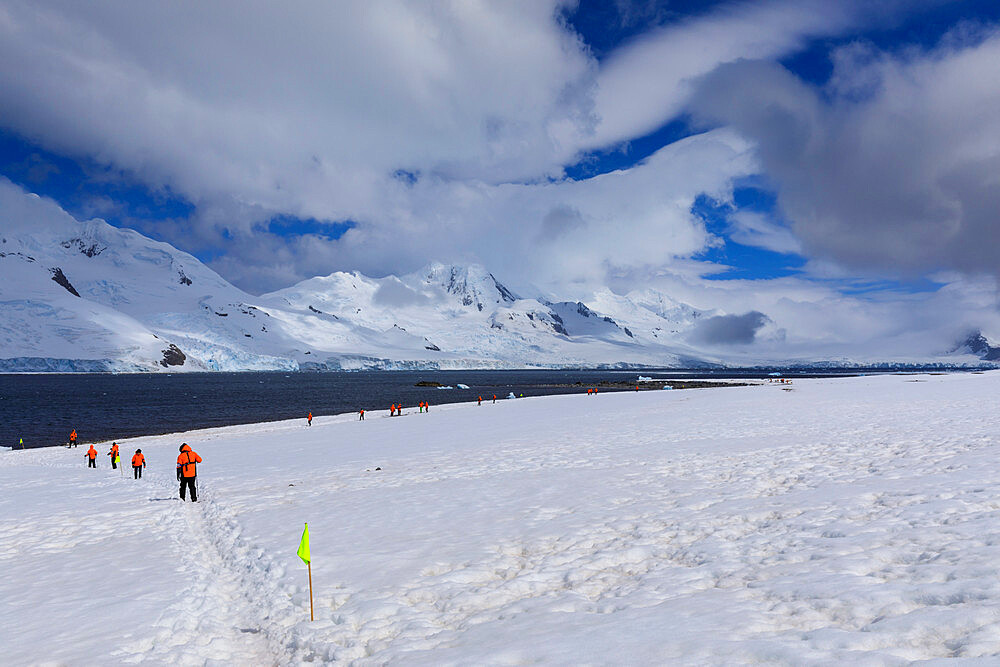 Expedition tourists follow a marked route on Half Moon Island, view to Livingston Island, South Shetland Islands, Antarctica, Polar Regions
