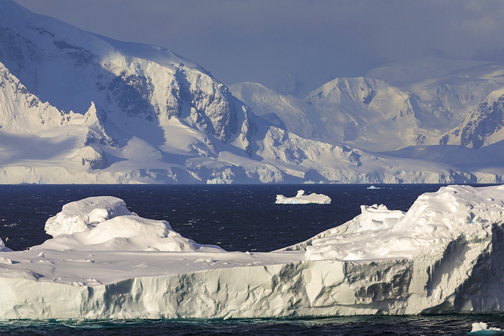 Iceberg, Gerlache Strait, mountains and glaciers, late evening before sunset, Antarctic Peninsula, Antarctica