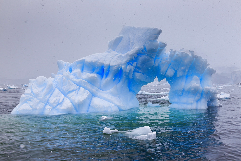 Blue iceberg arch in snowy weather, from sea level, Waterboat Point, Paradise Bay, Graham Land, Antarctic Peninsula, Antarctica, Polar Regions - 1167-1814