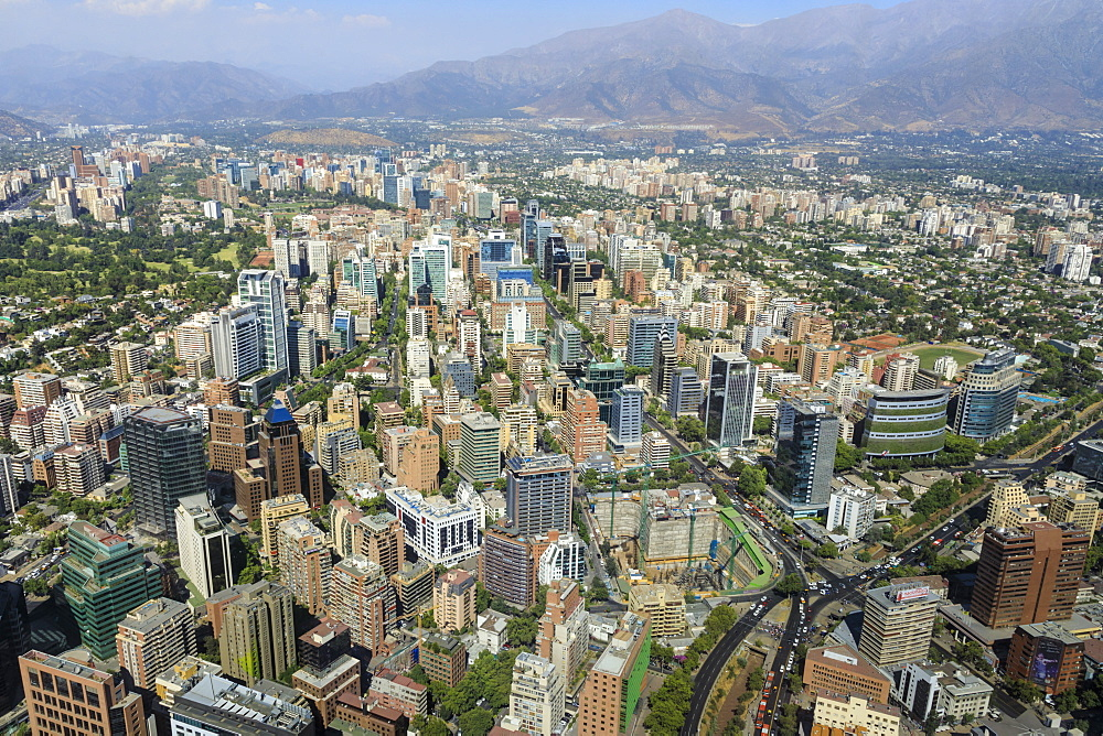Sanhattan metropolis from Gran Torre Santiago, Costanera Center, South America's tallest, Las Condes, El Golf, Santiago, Chile, South America - 1167-1857