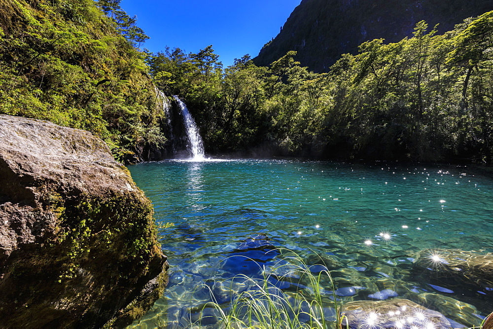 Waterfall, lake and blue sky, Petrohue Los Enamorados Trail, Vicente Perez Rosales National Park, Spring, Lakes District, Chile, South America - 1167-1882