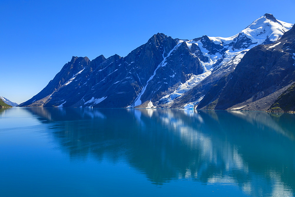Reflections, South Skjoldungen Fjord, Skjoldungen Island, glorious weather, King Frederick VI Coast, remote South East Greenland