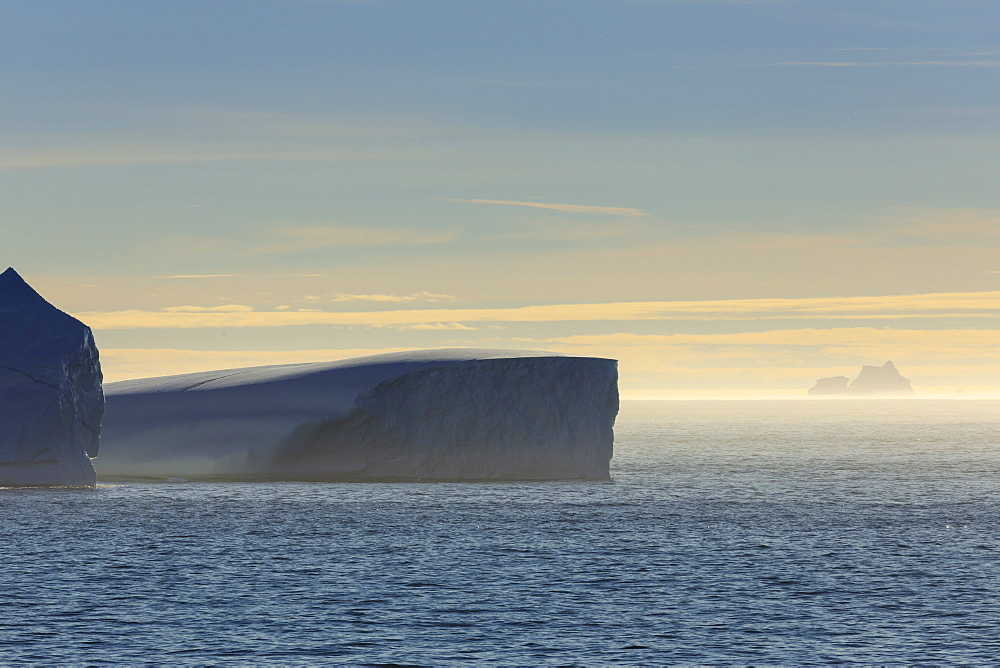 Icebergs and sea mist, entrance to Skjoldungen Fjord, early morning, King Frederick VI Coast, remote South East Greenland