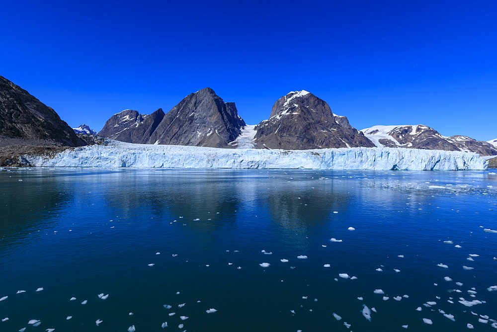 Thryms (Thrym) Glacier, large, retreating, tidewater glacier, Skjoldungen Fjord, glorious weather, remote South East Greenland