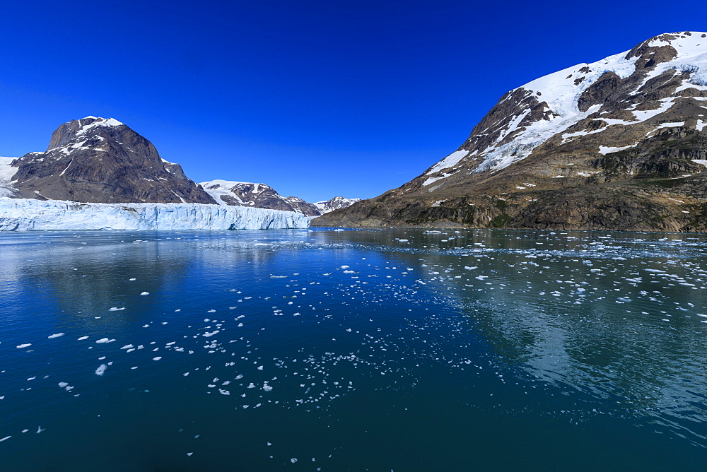 Thryms (Thrym) Glacier, large, retreating, tidewater glacier, Skjoldungen Fjord, glorious weather, remote South East Greenland - 1167-1952