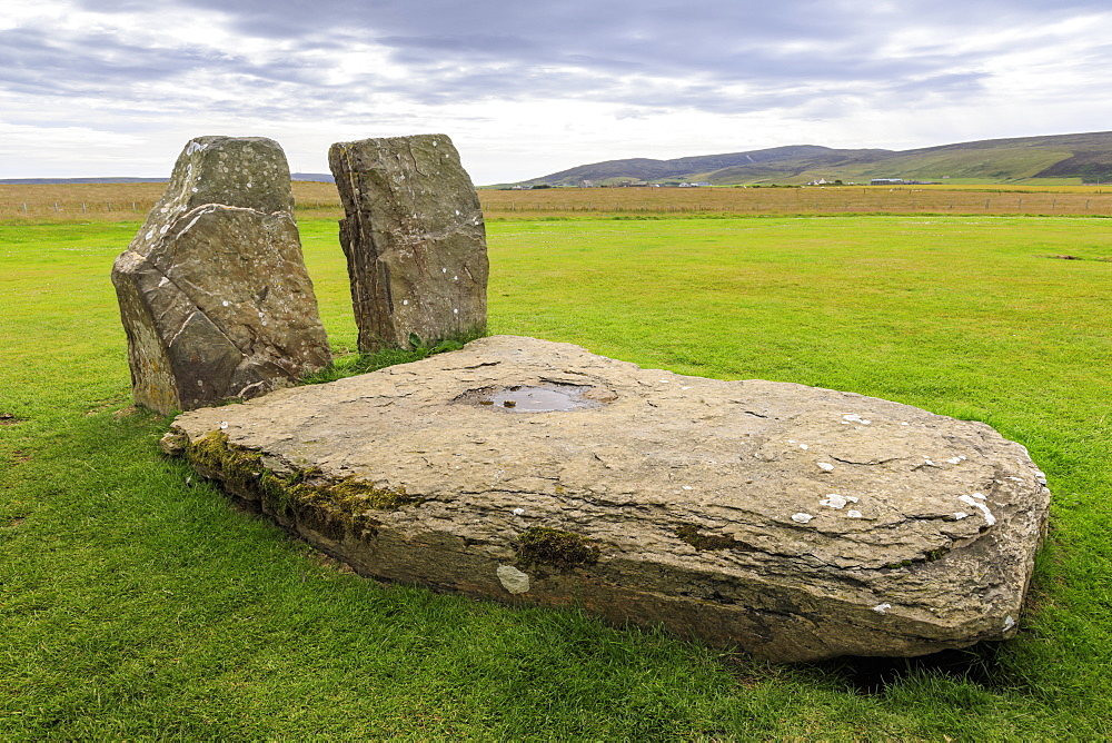 The Central Stones, Stones of Stenness, Neolithic stone circle, 5000 years old, UNESCO World Heritage Site, Orkney, Scotland