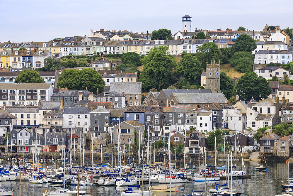 Falmouth, Visitor's Yacht Haven and Town, elevated view from the Fal River, Summer, Cornwall, England, United Kingdom - 1167-2006