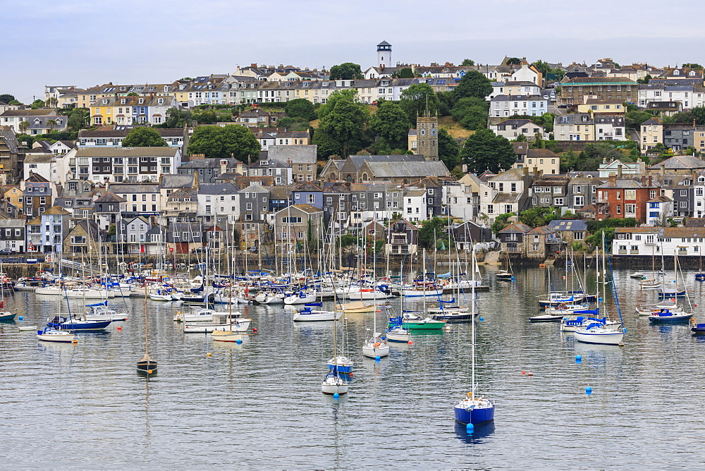 Falmouth, Visitor's Yacht Haven and Town, elevated view from the Fal River, Summer, Cornwall, England, United Kingdom