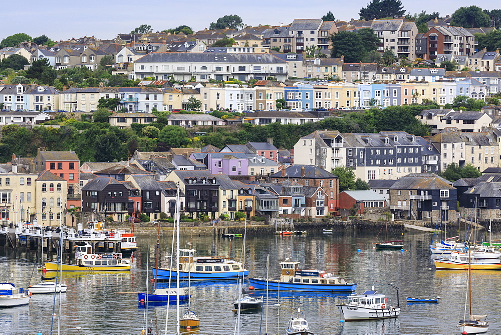 Falmouth, town and yachts, elevated view from the Fal River, Summer, Cornwall, England, United Kingdom