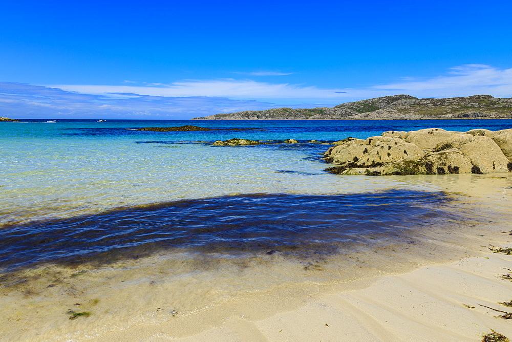 Achmelvich Beach, white sand, hot weather, North Coast 500, Summer, Assynt, Lochinver, Sutherland, Scottish Highlands, Scotland - 1167-2011