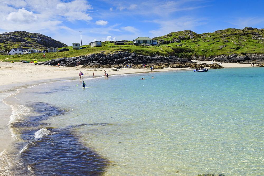 Achmelvich Beach, white sand, hot weather, North Coast 500, Summer, Assynt, Lochinver, Sutherland, Scottish Highlands, Scotland