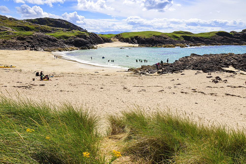 Clachtoll Beach, hot weather, North Coast 500, Summer, Assynt, Lochinver, Sutherland, Scottish Highlands, Scotland - 1167-2014