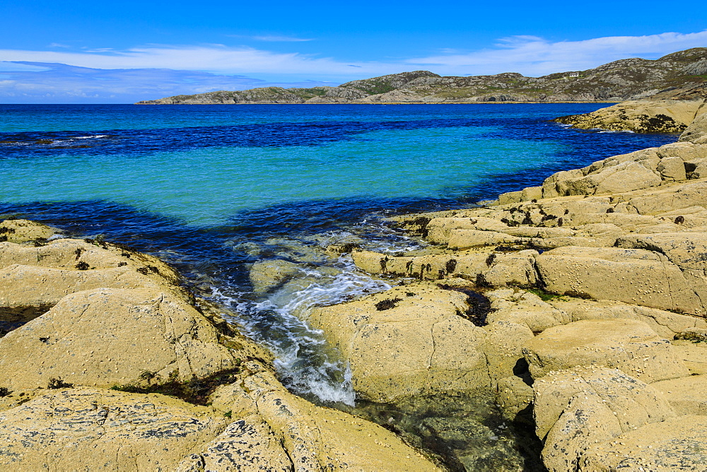 Achmelvich Bay, turquoise sea, hot weather, North Coast 500, Summer, Assynt, Lochinver, Sutherland, Scottish Highlands, Scotland