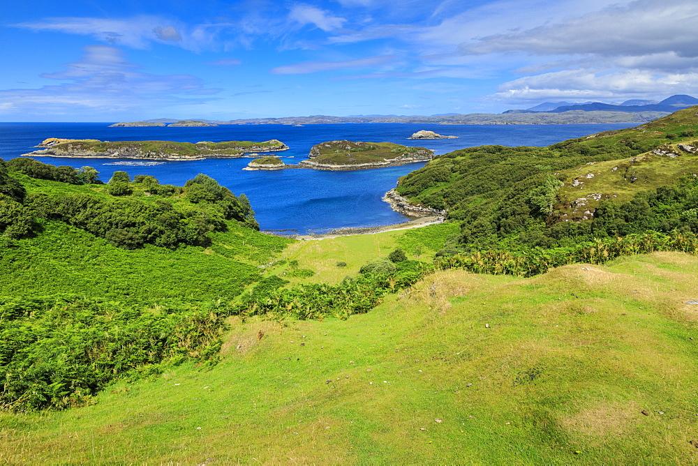 Eddrachillis Bay to Handa Island and mainland Sutherland from Drumbeg, Assynt, Summer, Lochinver, Scottish Highlands, Scotland