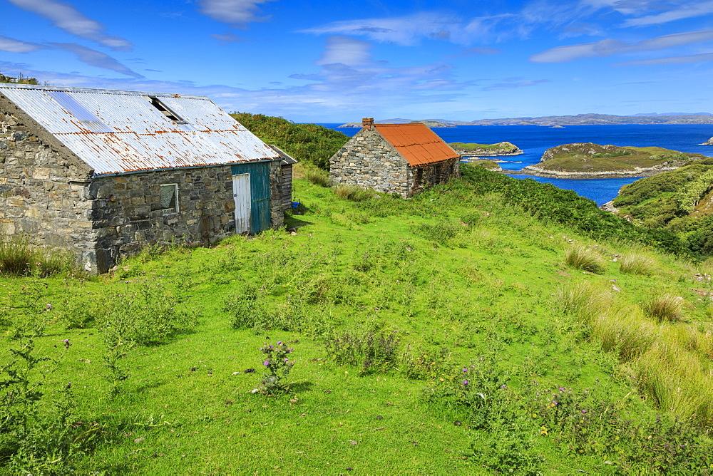 Old cottages, Eddrachillis Bay and Handa Island from Drumbeg, Assynt, Sutherland, Summer, Lochinver, Scottish Highland, Scotland - 1167-2017
