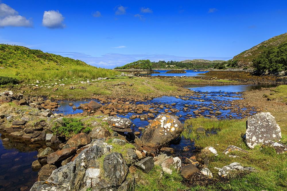 River flows to the sea, coastal scenery, Rhegreanoch, Summer, Wester Ross, Scottish Highlands, Scotland