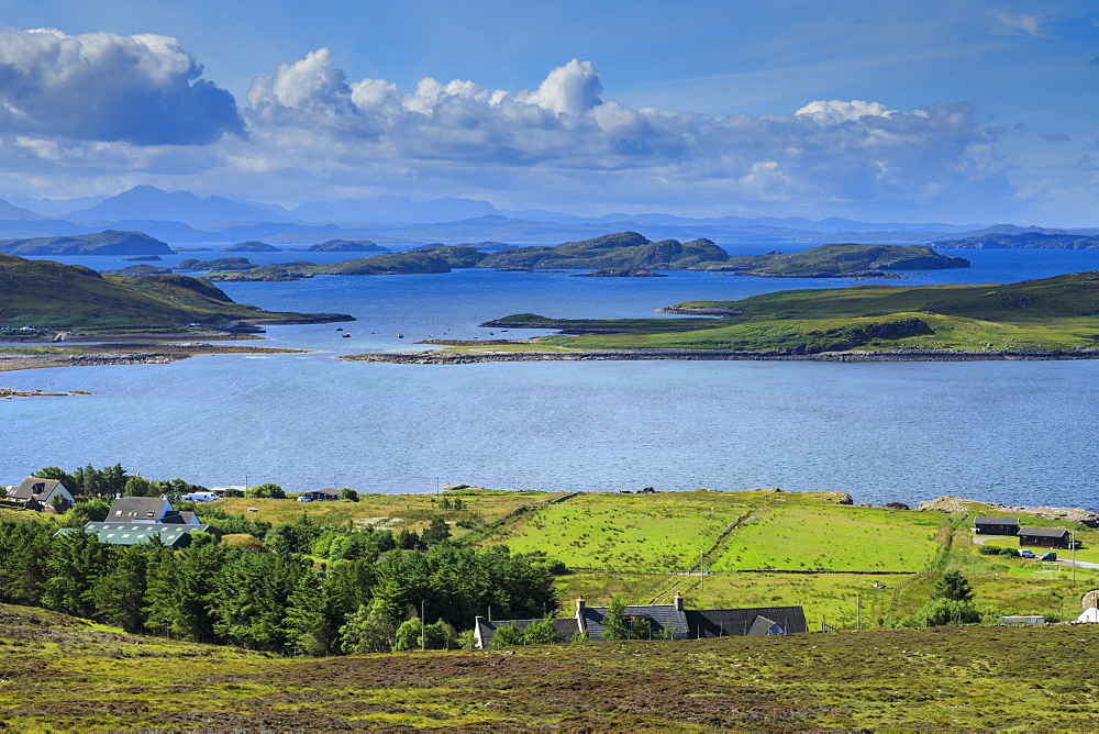 Fields by sea in Achiltibuie, Scotland, Europe - 1167-2021