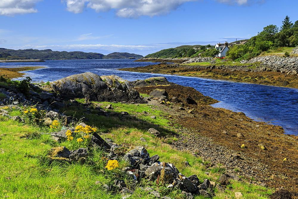River to sea in Lochinver, Scotland, Europe