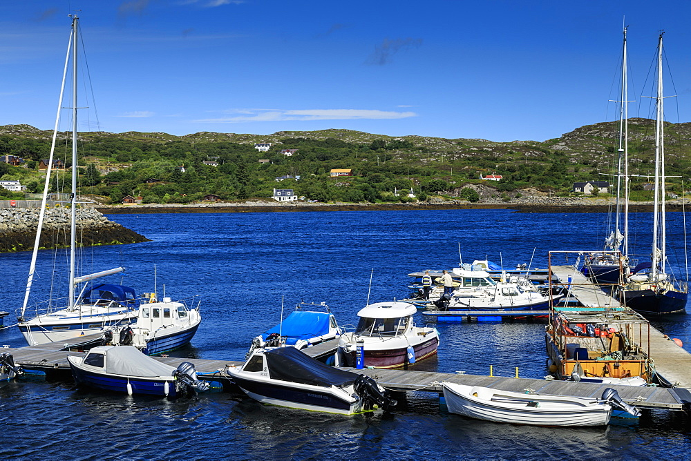 Yachts and boats, harbour, Loch Inver, Lochinver, Summer, Assynt, Sutherland, Scottish Highlands, Scotland, United Kingdom - 1167-2024