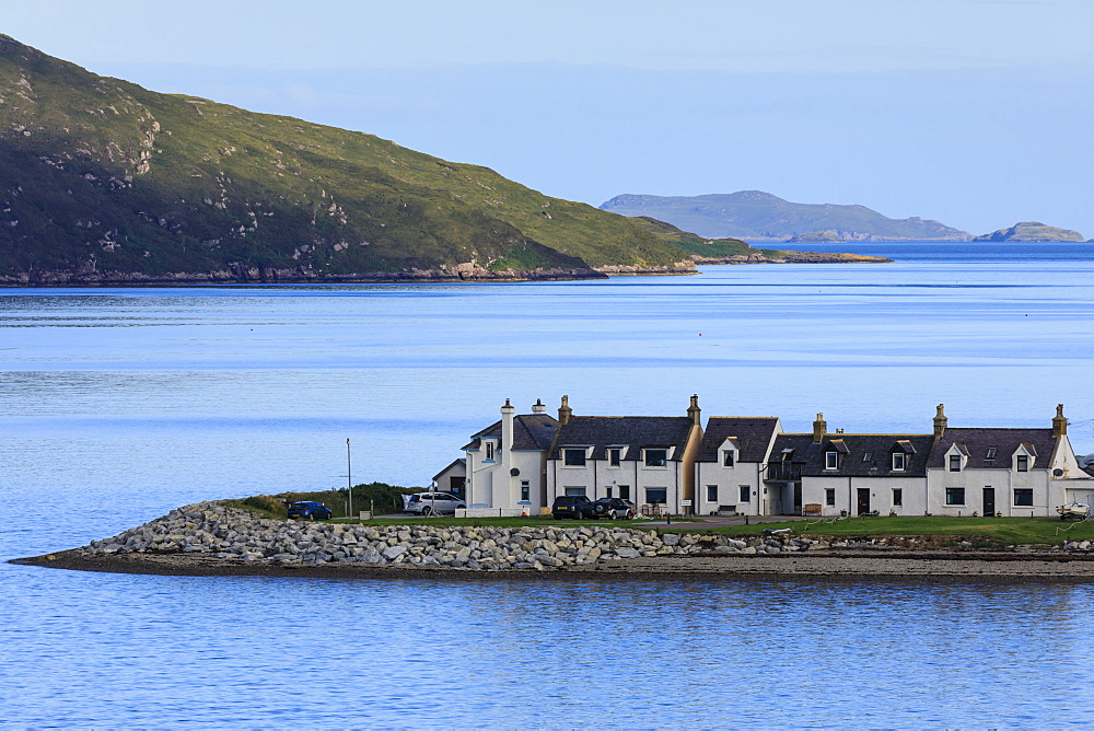 Ullapool, white cottages and a calm Loch Broom, early morning, Summer, Wester Ross, Scottish Highlands, Scotland, United Kingdom