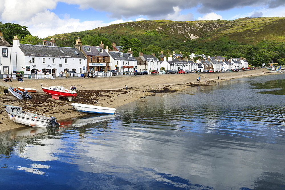 Ullapool waterfront, white cottages and boats, Summer, Loch Broom, Wester Ross, Scottish Highlands, Scotland, United Kingdom