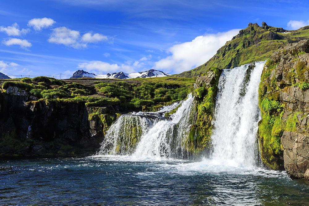 Kirkjufellsfoss Waterfall, snowy mountains, Grundarfjordur, blue sky, good Summer weather, Snaefellsnes Peninsula, Iceland - 1167-2047
